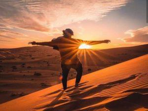 Sun set desert morocco